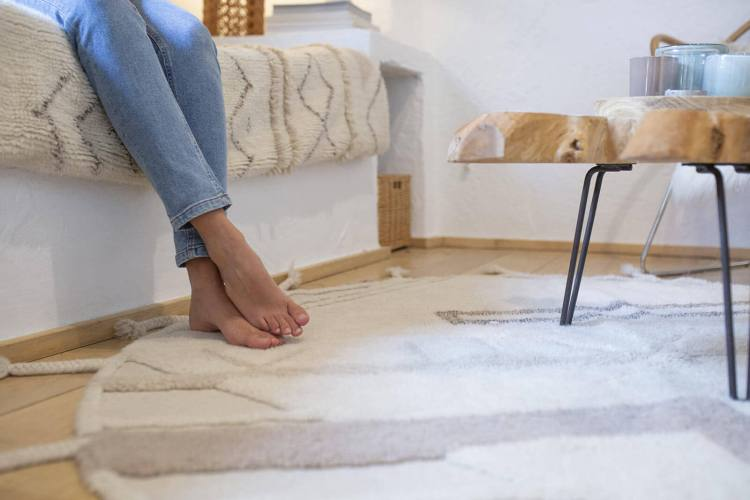 tapis rond avec franges