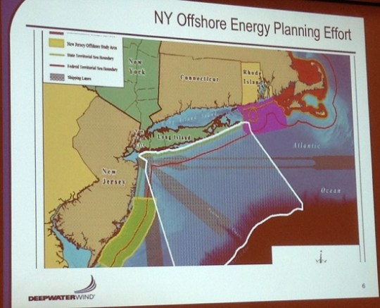 Deepwater Wind showed the current New York offshore Planning Map