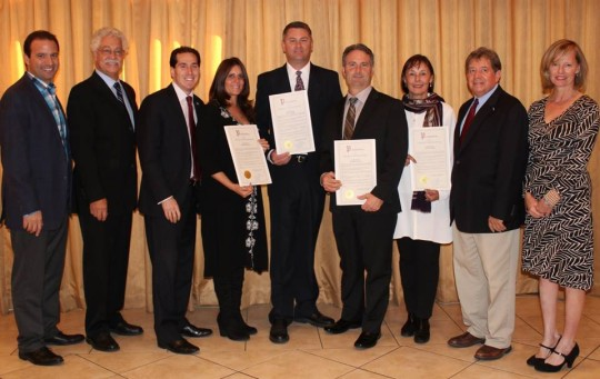 Long Beach Reach annual awards (l-r) Long Beach City Councilman Anthony Eramo, Long Beach Reach Executive Director Joseph Smith, State Senator Todd Kaminsky, Honoree Debora Staiano, Honoree Kevin Reilly, Honoree George Povall, Honoree Betsy Glazer, Chairman Scott Nigro and Long Beach City Councilwoman Eileen Goggin.