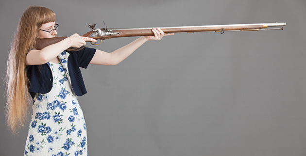 Hefting the Brown Bess musket shows excessive length of pull, too much weight. The same shooter runs an M4 carbine comfortably.