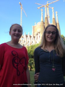 In front of the Sagrada Familia in Barcelona