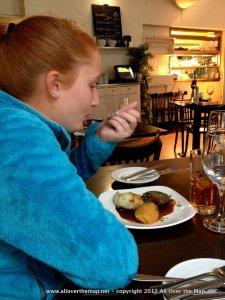 Calla's first taste of haggis.