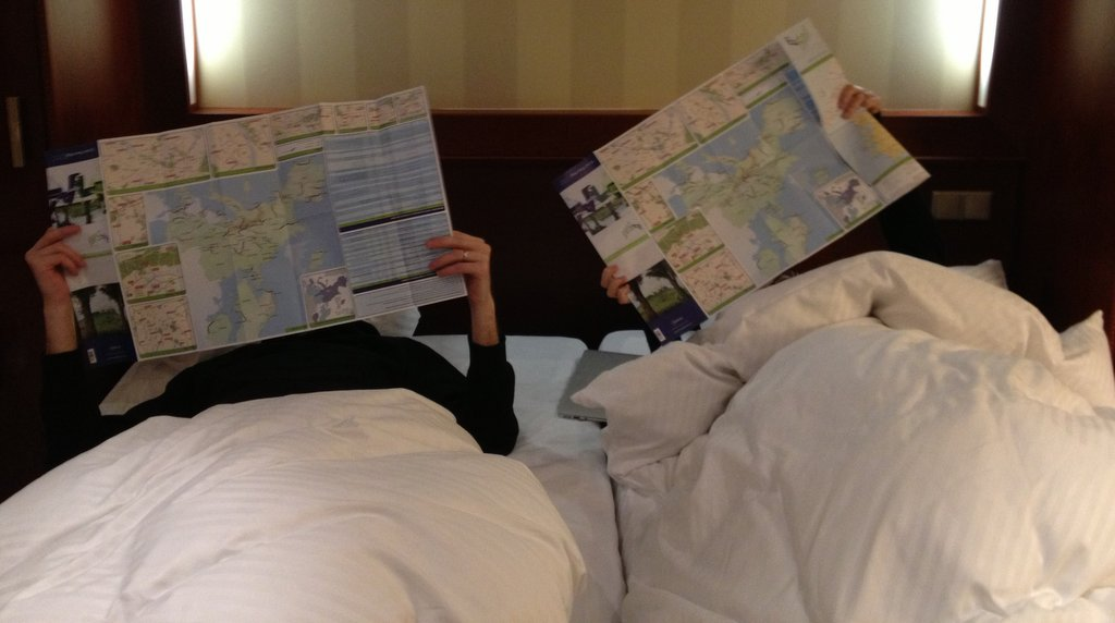 Pondering the maps for our Eurail with kids adventures