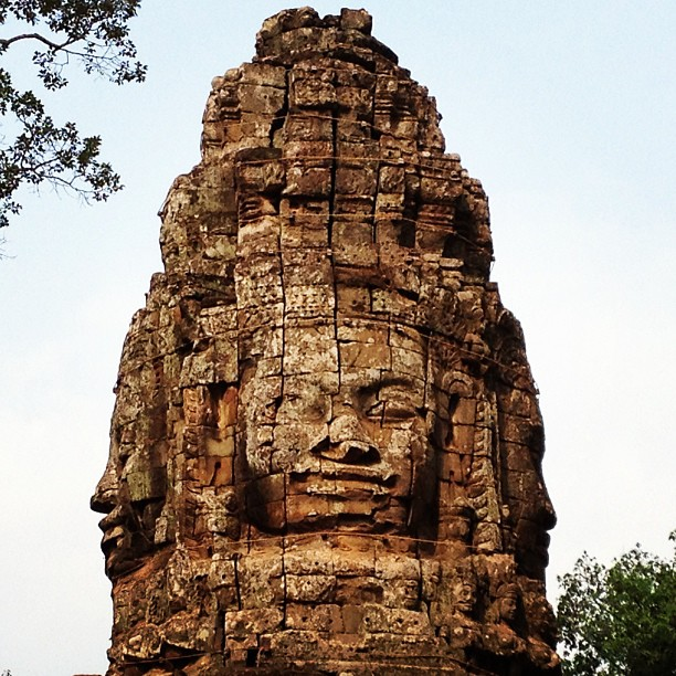 Just a few of the hundreds of smiling Buddhas at Bayon Temple.