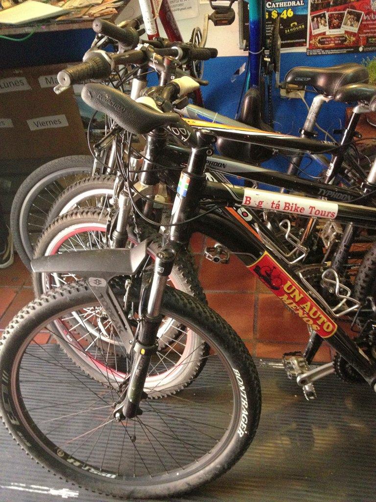 Getting the bikes ready for the Bogota Bike Tour