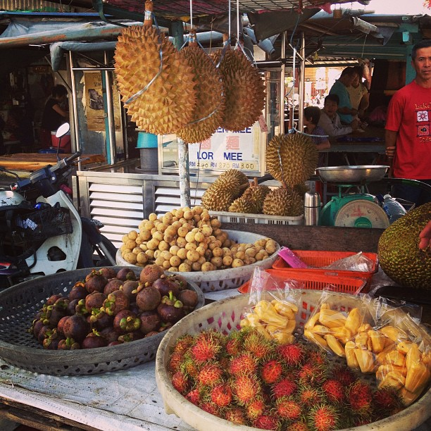 A fruit cart in Malaysia, where we first spot the durian fruit we'd been smelling all week.