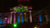 The balls drop at the Masonic Memorial - Christmas in Old Town Alexandria 2013