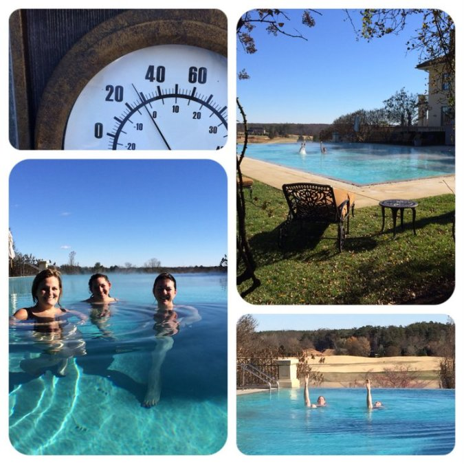 Collage showing 28 degrees outside, but the girls hop in the 80 degree saltwater pool anyway