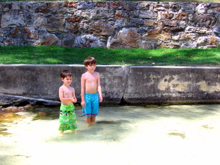 Boys playing in the springs of Berkeley Springs, WV
