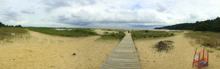 Panorama of the beach at Flag Ponds Nature Park
