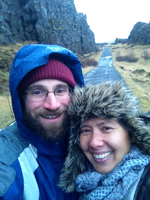 Selfie with wife at Pingvellir - Copy