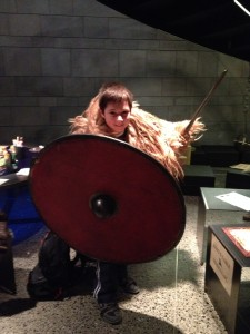 A boy with a spear and a shield at the Settlement Exhibition in Reykjavik
