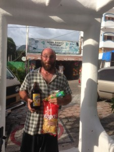 Caught in the act - beer and chips from the store across the street from our ocean view apartment.
