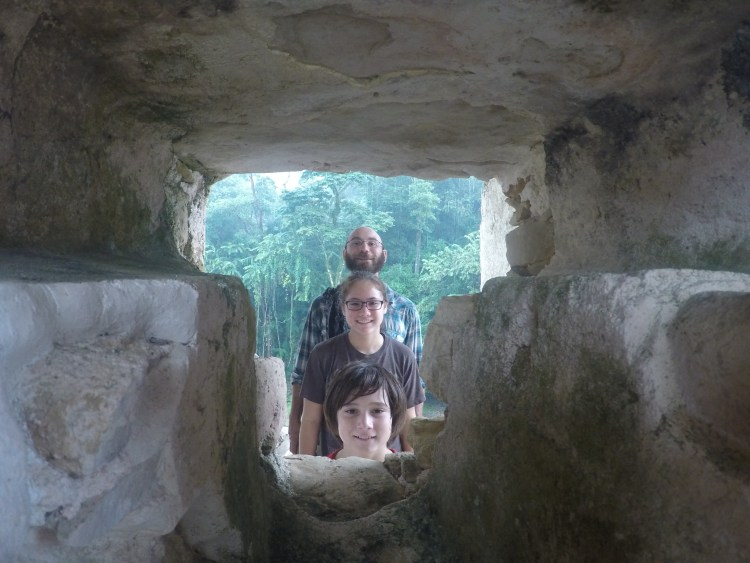 One of the lighter moments while we waited out the rain atop the Palace at Palenque.