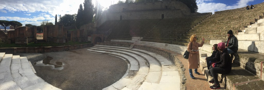 The theater we visited on a Pompeii tour for kids