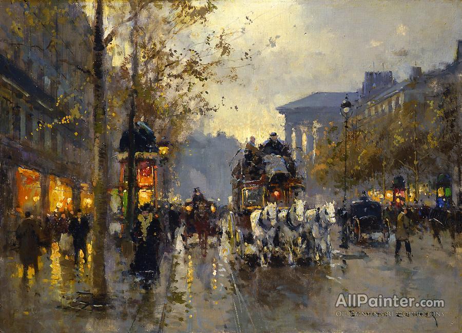 Edouard Lon Cortes Boulevard De La Madeleine Oil Painting