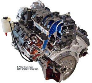 The modern 57 Mopar Hemi V8 engine
