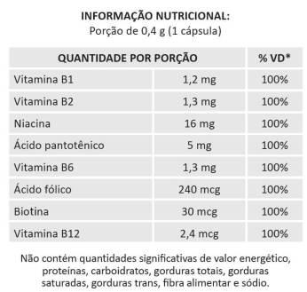 TABELA NUTRICIONAL COMPLEXO B ALLPREMIUM