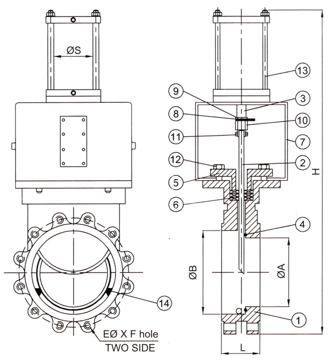M 13 Pneumatic Type Stainless Knife Gate Valve