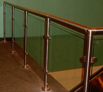 Glass framing system brackets and chrome posts designed and supplied ...