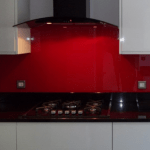 Painted glass kitchen Splashbacks be hind the gas hob decourative glass in Northern ireland