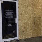 Broken door glass shop front window replacement glass emergency boarding up northern ireland glass and glazier Antrim glass