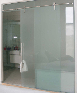 Large Sliding Glass door for Bathroom, Quality moder sliding framless doors made to measure supplied and installed in ireland