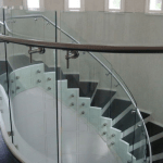 Irish self build home design glass stairs curved glass handrail glass balustrades ireland toughened safety glass curved glass Balcony ireland