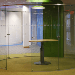 Office Fit out Glass curved glass cubicle glass acoustic curved glass for interior design frameless curved glass partitions systems ireland