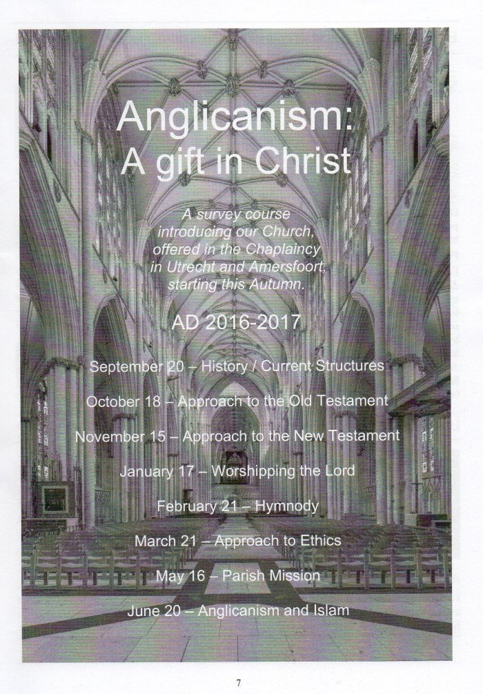 Survey Course introducing the Anglican Church and what it means to be Anglican.