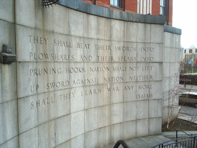 Photo of the wall, opposite the United Nations HQ in New York, (photo is public domain: By Capt. Phœbus (talk) 17:01, 31 October 2007 (UTC) - Own work, Public Domain, https://commons.wikimedia.org/w/index.php?curid=3000349).