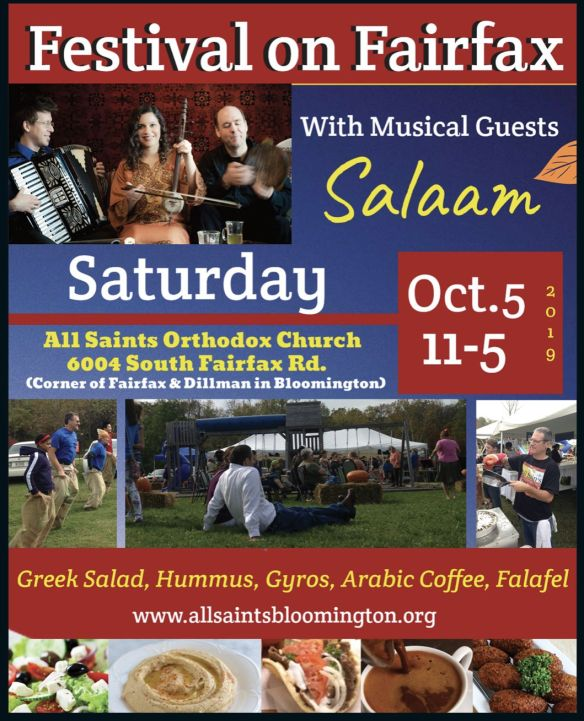 Festival on Fairfax with Musical Guests Salaam. Saturday, October 5th, from 11am-5pm. Greek Salad, Hummus, Gyros, Arabic Coffee, Falafel, and more!