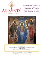 Announcements 02.18.2018 Lent 1