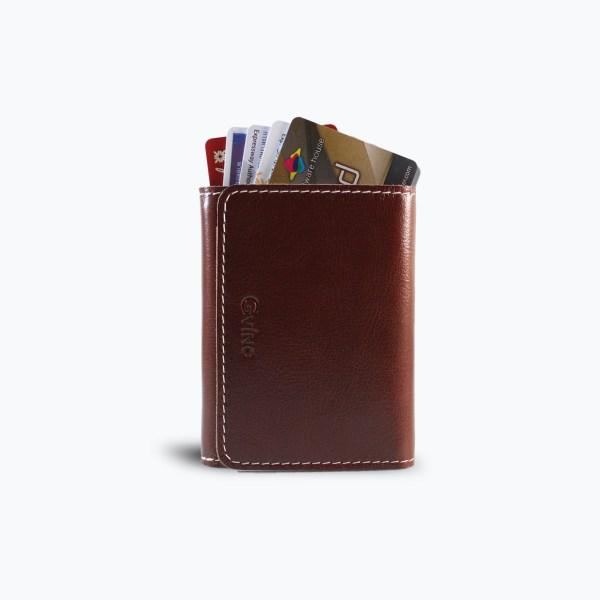 กระเป๋าใส่บัตร Croccante Card Holder - สีน้ำตาลแดง
