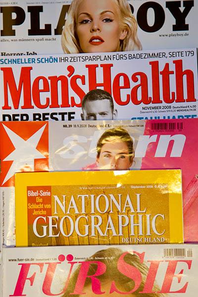 Zeitschriften-Cover von Playboy, Men's Health, Stern, National Geographic und Für Sie
