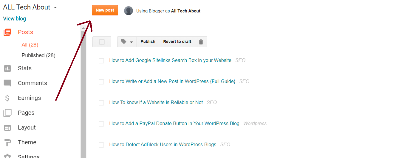 How To Create a New Post On Blogger