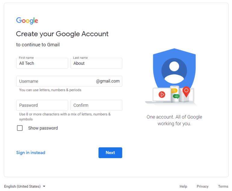 Create a New Gmail Account