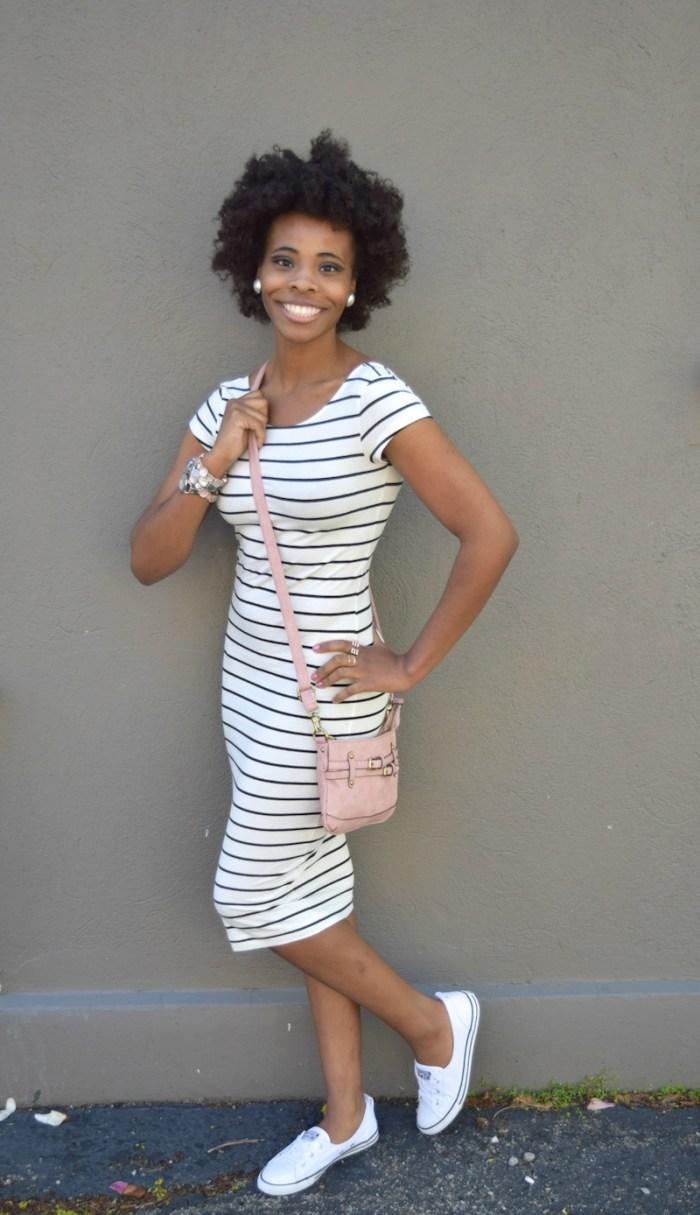 black-white-striped-jersey-dress