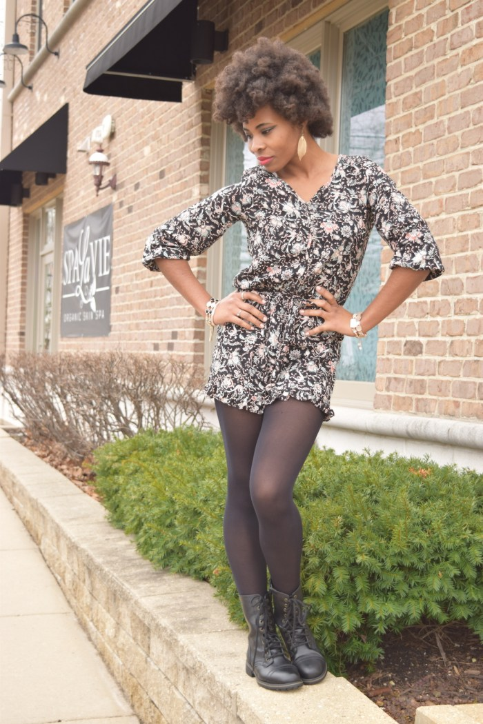 floral-print-romper-black-tights-boots
