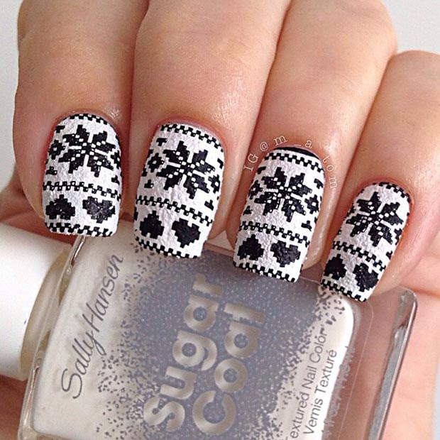 black and white nail art christmas design snowflake