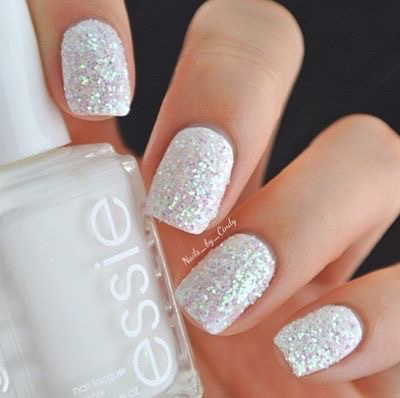glitter white nail art christmas design