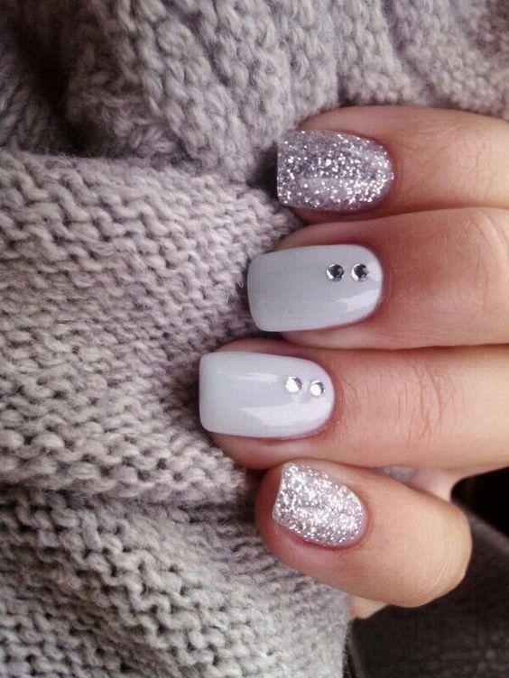 pink glitter white nail art christmas design