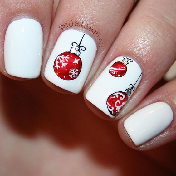 red white nail art christmas design