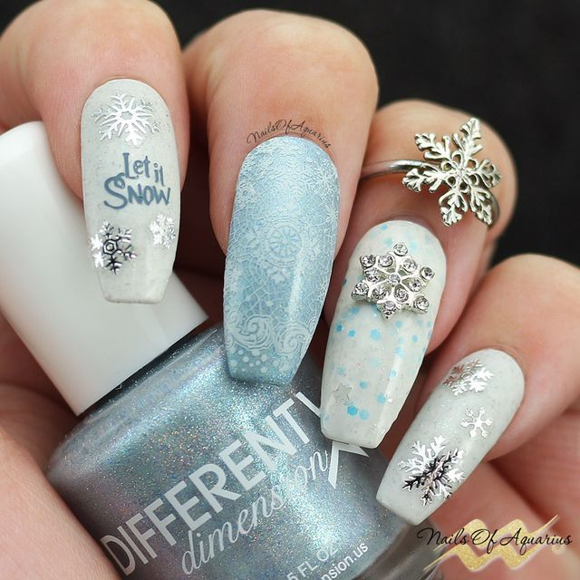 silver white nail art christmas design blue let it nnow