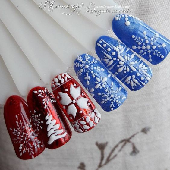 winter-nails-cute-designs-red-blue Christmas