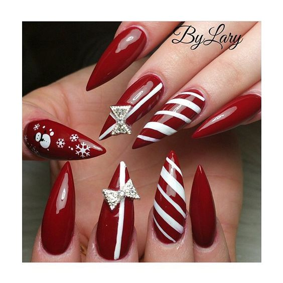 winter nails cute designs red white gift christmas art - Red Christmas Nails