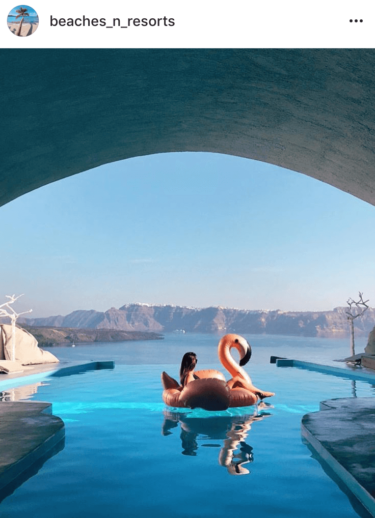floatie in the pool with a view