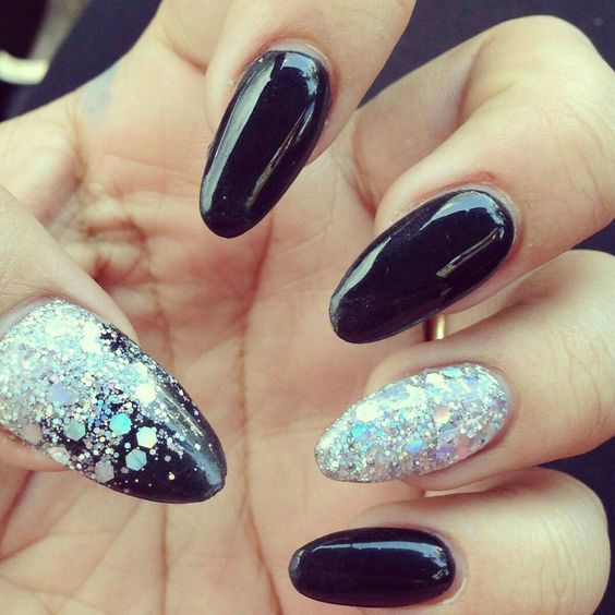 almond black nails with glitter