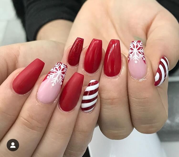 snow nails christmas winter manicure design red