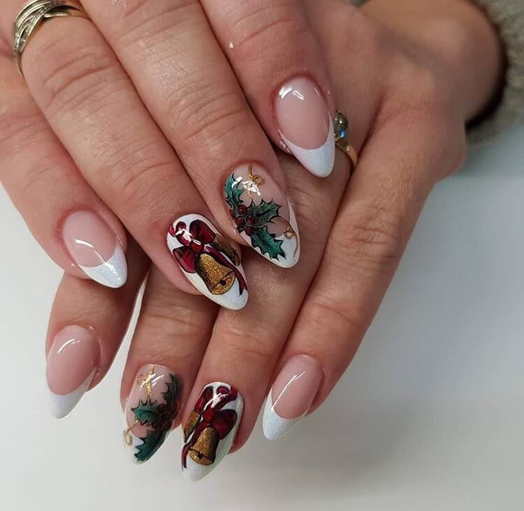 snow nails christmas winter manicure french